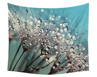 Dandelion Tapestry, Nature Tapestry, Wall Art, Wall Tapestries, Wall Decor, Landscape Photography, Photo Art, Raindrops, Dew, Drops, Floral