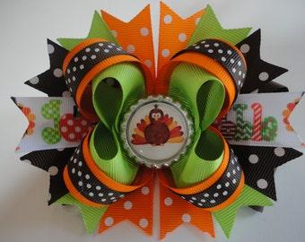 "THANKSGIVING Turkey Handmade Boutique Hair Bow Orange/Brown/Green/White 5.0"" x 4.5"""