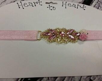 "Pink vintage rhinestone headband babies girls women - 13"" - 22"""