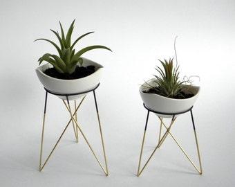 Set aus 2 geometrische Anlage steht mit einem kleinen weißen Keramik Blumentöpfe | Himmeli | elegante geometrische Terrarium | Metall Messing gelötet