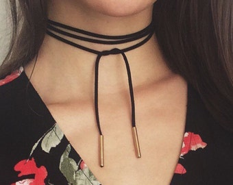 MAXINE leather/vegan tie up multiway Choker/Halsband schwarz black/gold nude hautfarbend/gold
