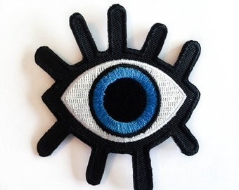 Eye Patch / Big BLUE Eye / Iron-on Patches / Eyelash / Evil Eye Patch / Embroidery / DIY Denim Jacket