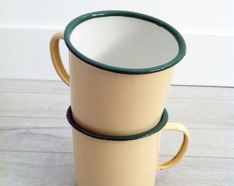 TWO French Country Vintage Camping Enamel Mugs,Green Rim,Yellow Cups,Enamelware,Camping Mugs,Coffee Mugs,French Country,Drink and Barware