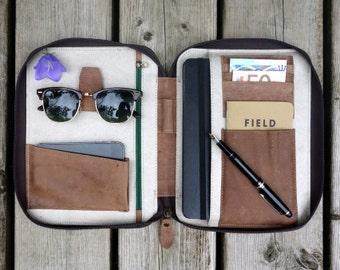 LEATHER FOLIO (large) - holds Large Moleskine Notebooks or iPad Air - work portfolio cover sleeve document organiser organizer folder