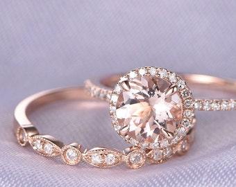 Morganite Engagement ring,2pcs Wedding Ring Set,14k Rose gold,Art Deco diamond Matching Band,7mm Round Stone,Personalized for her,Custom