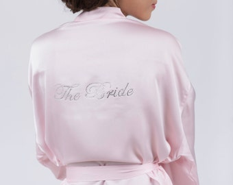 "Champagne Dressing Gown / Robe available with optional customised diamante ""The Bride"", ""Mother of the Bride"" & ""Bridesmaid"" by Matchimony"