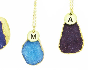 Gold Druzy Pendant - Druzy Necklace - Purple Druzy Pendant - Blue Druzy Pendant - Gold Initial Necklace - 9ct Gold Necklace - Gift for her