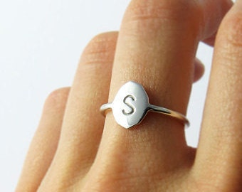 Signet Ring | Personalised Stamped Initial Ring in Solid Sterling Silver  or .9ct Yellow Gold Handcrafted by Ginny Reynders