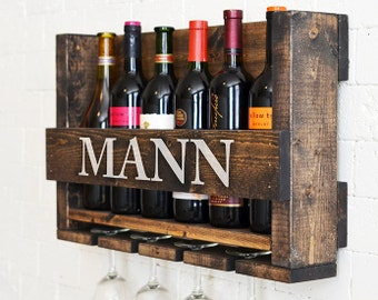 Wine Rack Wall Hanging Personalized Gift Family Name