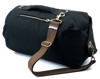 Waxed Canvas Duffle Bag - Medium Black