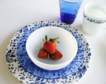 Vintage Place Setting - Blue and White Mix and Match Dish Set - Cottage Chic Glass and China Mismatched