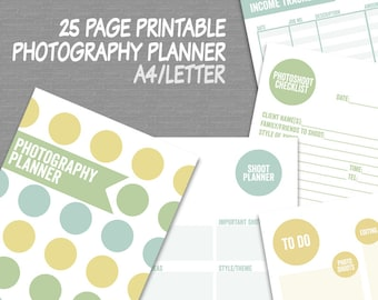 "Photography Planner Printable, 8.5""x11"" letter and a4 size, photographer diary printable digital photography business organizer, 25 page PDF"