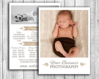 Photography pricing template, newborn price guide for photographers, family photo shoot pricing, photoshop price template