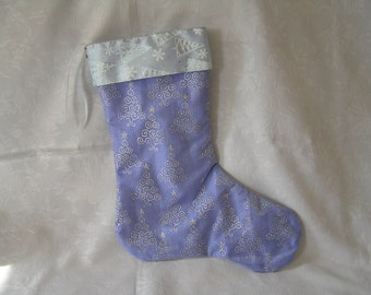 christmas stocking, lilac satin, glittery, christmas tree, patterned organza, fully lined, clearance