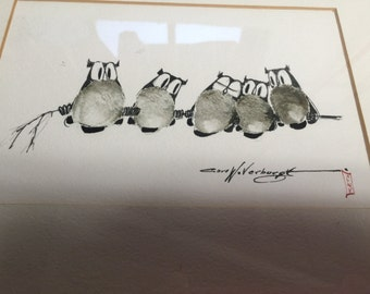 Birds (fingerprints) on a Limb Illustration- Signed by CARL VERBURGT