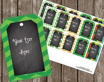 50% OFF SALE St. Patrick's Day {EDITABLE} Tags - Instant Download - Chalkboard - Gifts - Printable Cards