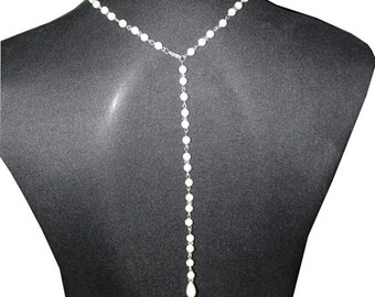 Shell Pearl Bridal Back Drop Necklace, Elegant Body Chain
