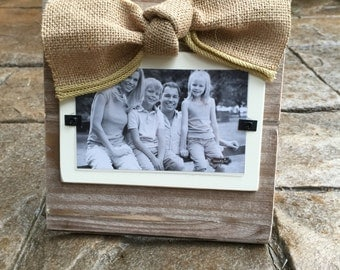 Natural Distressed Wood Picture Frame with Burlap Bow- Mud Pie