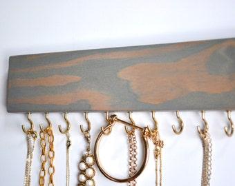 Necklace Holder Blue Stain / Jewelry Hanger / Jewelry Organization / Jewelry Rack / Women's Gift / Gold Hooks / LeLee Design
