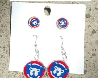 Chicago Cubs bear Earrings set (your choice of image )