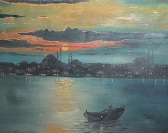 Antique seascape sunset oil painting signed