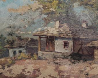 Vintage landscape house oil painting signed