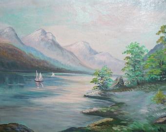 Vintage mountain landscape oil painting signed