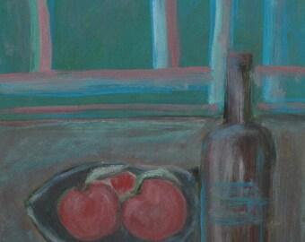 Still life bottle & apples vintage oil painting