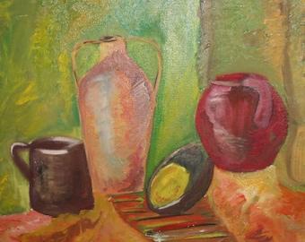 Still life jugs vintage oil painting