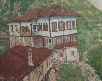 1937 Moutain house landscape antique oil painting signed