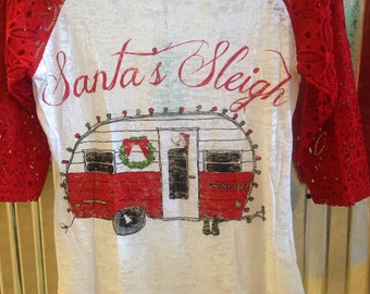 Santa's Sleigh Baseball Tee