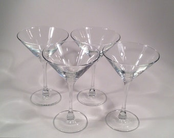 Vintage Set Of 4 Long Stem Martini Glasses From The 1950's #252