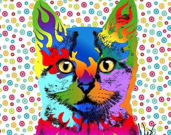 Pop Art Cat Portrait Pet Portrait  custom pet portrait Cat Cat painting cat art custom portrait dog portrait pop art pet portrait dog cat