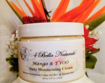 Mango & EVOO Daily Hair Moisturizing Cream 12oz.- Natural, Organic-Handmade- Dry to Normal Hair Types