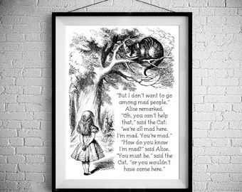 We're All Mad Here - Traditional Alice In Wonderland Art  - PRINTED - BUY 2 Get 1 FREE