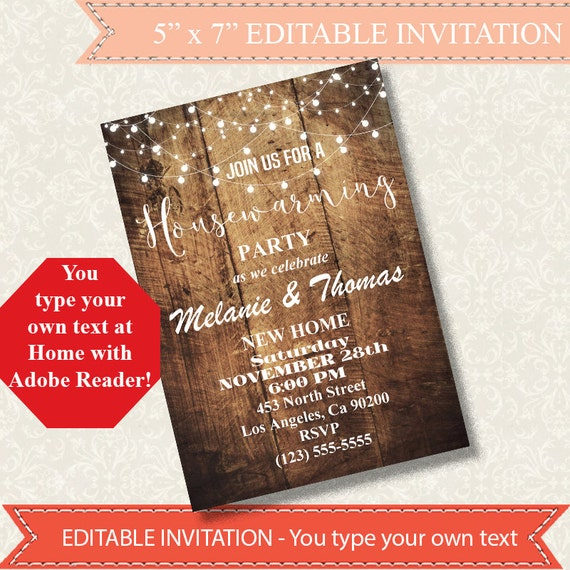 Housewarming Invitation New Home Invitation Rustic By