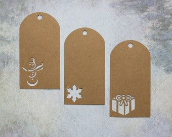 Kraft Holiday Gift Tags - Snowman, Snowflake, Present - Non Denominational Gift Tags - Non-Demoninational Present