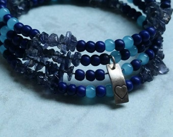 Chunky Beaded Bracelet with Sapphire Chips