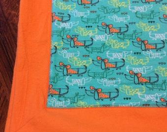 Dachshund Flannel Receiving Blanket