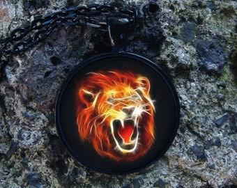 Glowing Fire Lion / Glow in the dark / Burning lion / Glow necklace / Glowing jewel / Fire Leo / Lion Pendant / Fire Necklace / Glowing Leo