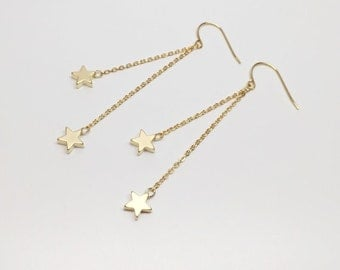 Star earrings, dangle star earrings, hipster earrings, geometric earrings, gold star earring