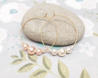 Geometric pearl hoop earrings, gold hoop earrings, dangle pearl earrings, christmas gift, dangle hoop earrings,  pearl hoop earrings,