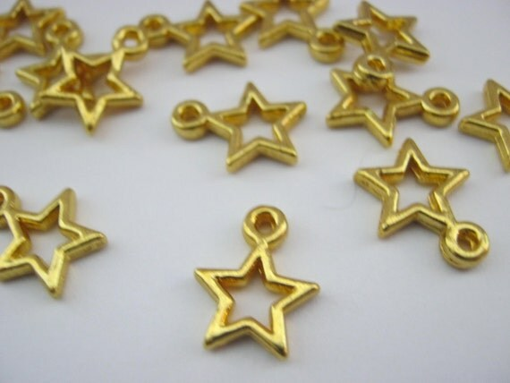 Small gold stars charms mm inch by