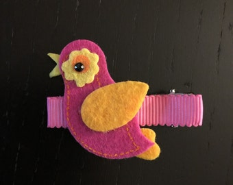 Pink bird hair clip