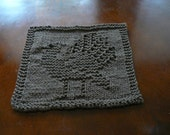 Hand Knit Terrific Taupe Thanksgiving Turkey Wash Cloth or Dish Cloth