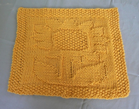 Hand Knit Golden Sunflower Cotton Dish Cloth or Wash Cloth