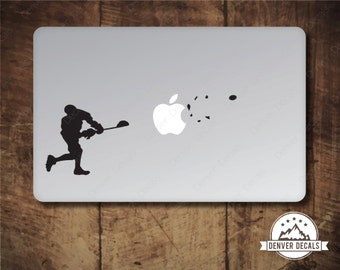 Lacrosse Sticker MacBook Decal Blasting the Apple Sports Mac Vinyl Black Matte for 13 and 15 inch models