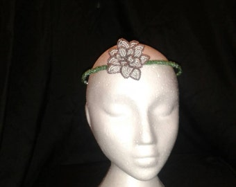 Beaded purple rose crown