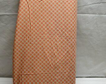"Copper/Peach Orange Blue Diamond Print Cotton Coordinates with Quilt Kit 44""W  Vintage Quilt Apparel Fabric SBTY"