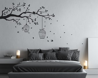 Removable Tree Branch Wall Sticker with falling leaves, bird cages, & birds | Home decor, wall art decal | White Grey Black